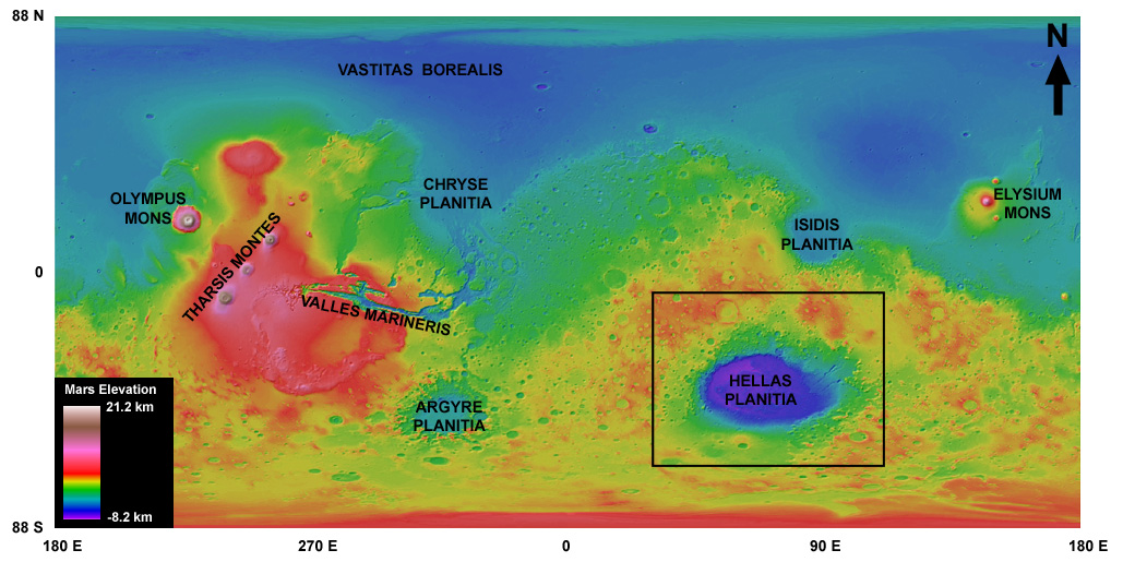 Elevation map of Mars showing how deep Hellas Basin is compared to the rest of the planet. Image credit: Planetary Science Institute.