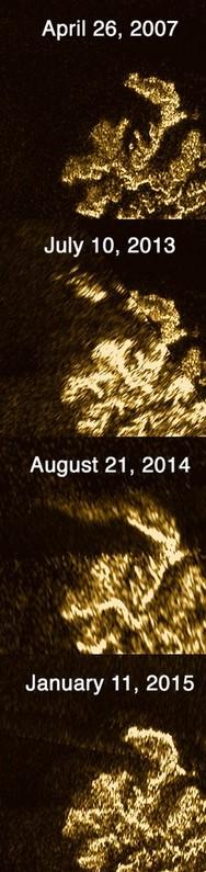 Cassini images of Magic Island. Credit: NASA Cassini