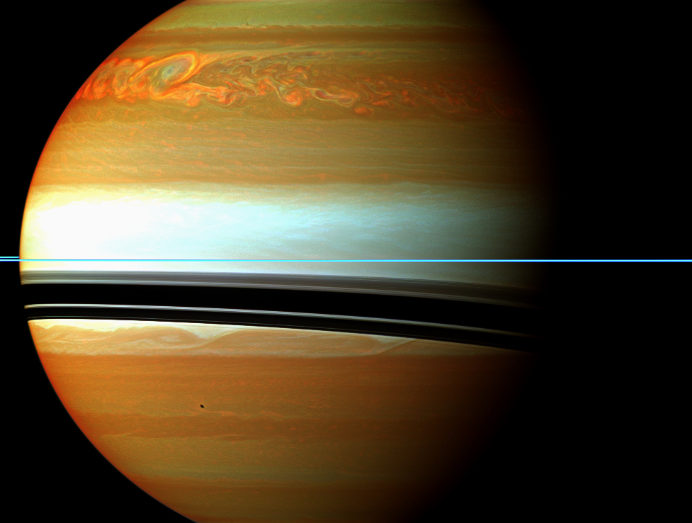 The trail end of a storm. False-colored image of anticyclones at the end of a very large storm.Image: NASA Cassini