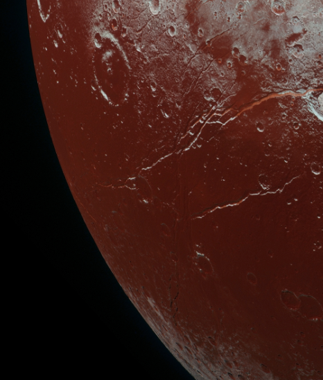 Possible tholin-covered region on Pluto. The mystery continues! Could we find more on other far away rocky bodies? Image credit: New Horizons/ NASA.