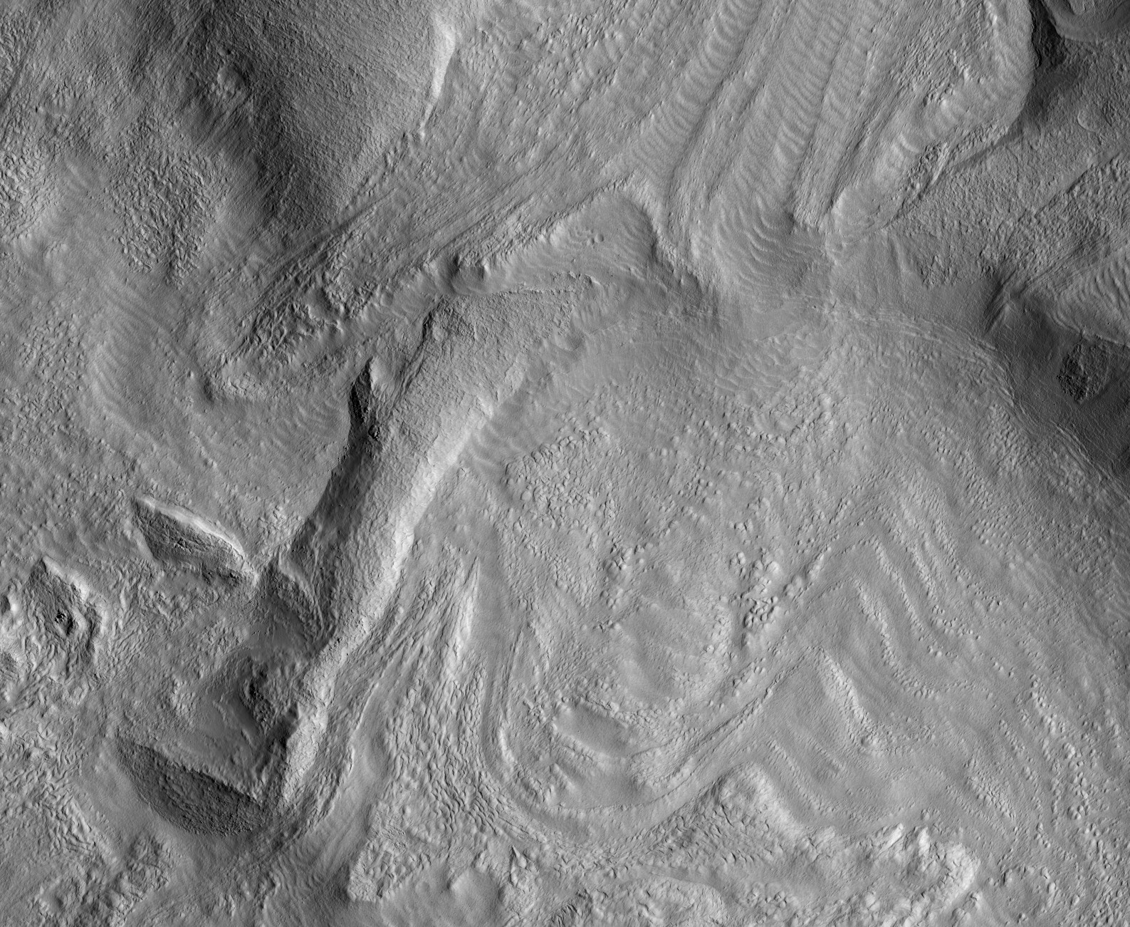 HiRISE image of glacial flow features on Mars!