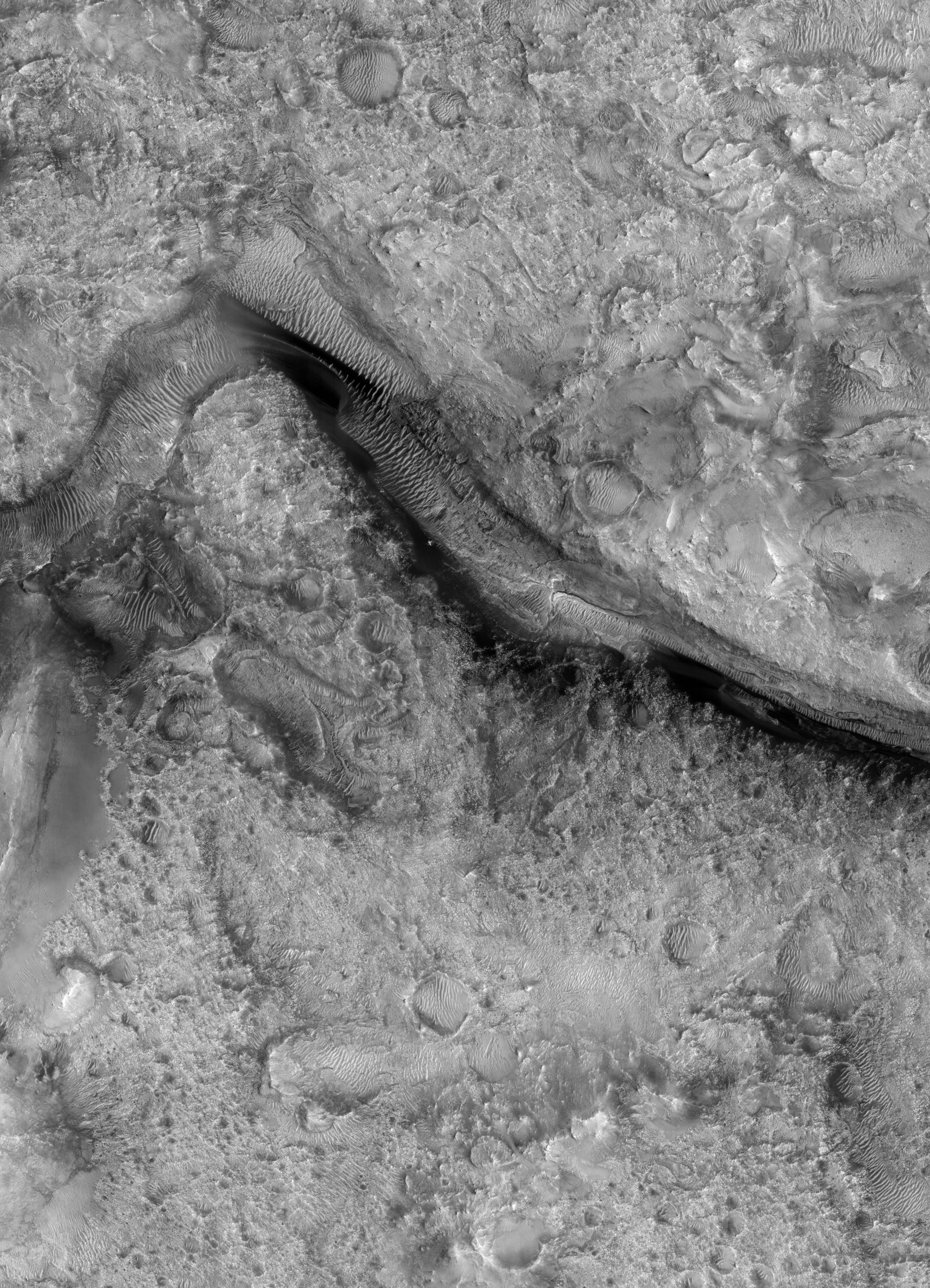 Jezero Crater area for possible future landing site! Image: ASU-HiRISE.