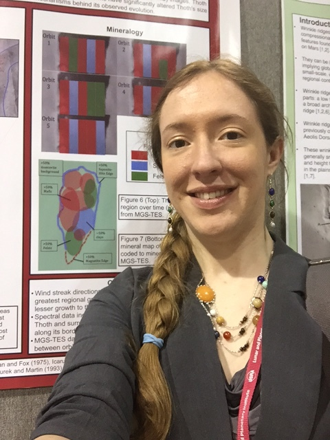 One of the posters I co-authored about mineralogy of a surface feature on Mars! Credit: Caitlin Ahrens.