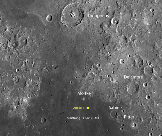 Landing site of the Apollo 11 in the Sea of Tranquility. Credit: NASA