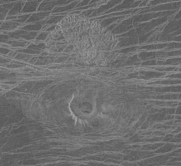 Example of a small tick volcano on Venus. Image credit: Magellan.
