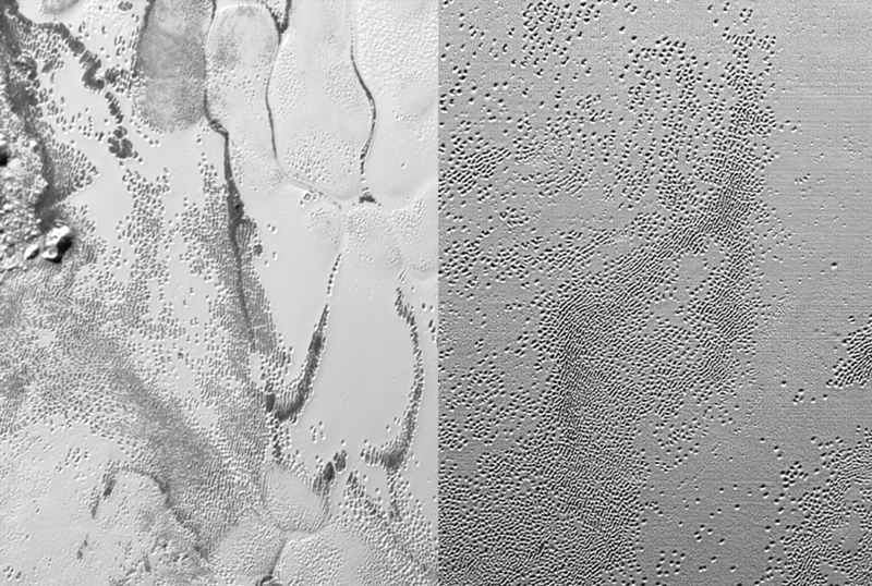 Convective cells and sublimation pitting patterns and interactions. Image credit: New Horizons/NASA/SwRI.