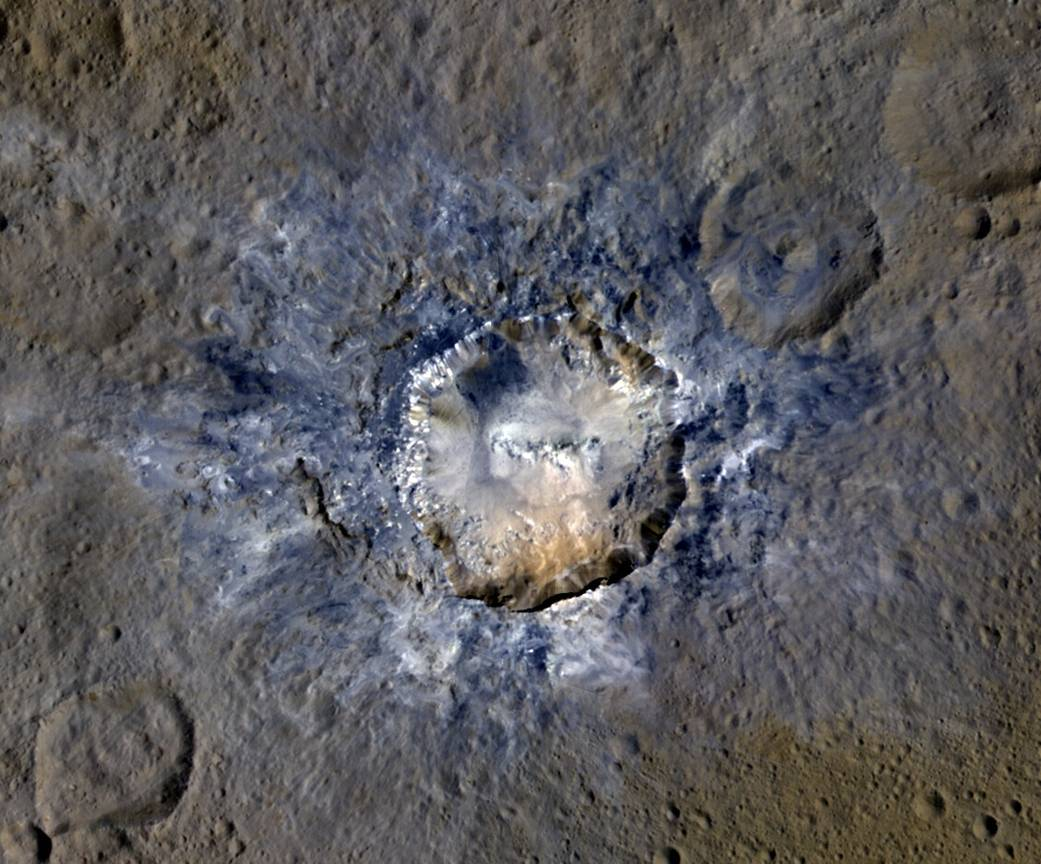 Enhanced colored image of Haulani crater with the bright spots in and part of the ejecta. Image credit:NASA/MPS/PSI