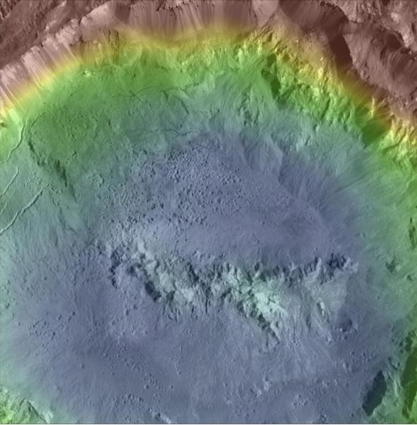 Colorized topographic map of Haulani crater. Note the landsliding and pitting of the crater walls and floor! Image credit:NASA/MPS/PSI/Thomas Platz