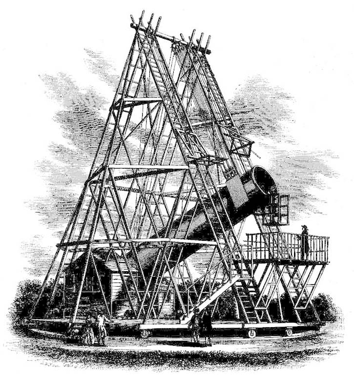 1789 depiction of the Great 40-Foot Telescope in Slough, England.