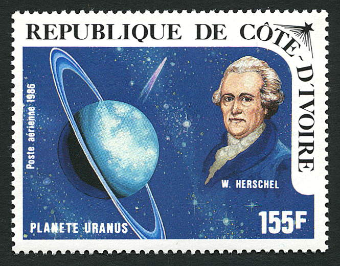 Ivory Coast, 1986 stamp of William Herschel and Uranus. From the Stanley Gibbons collection no. 875.