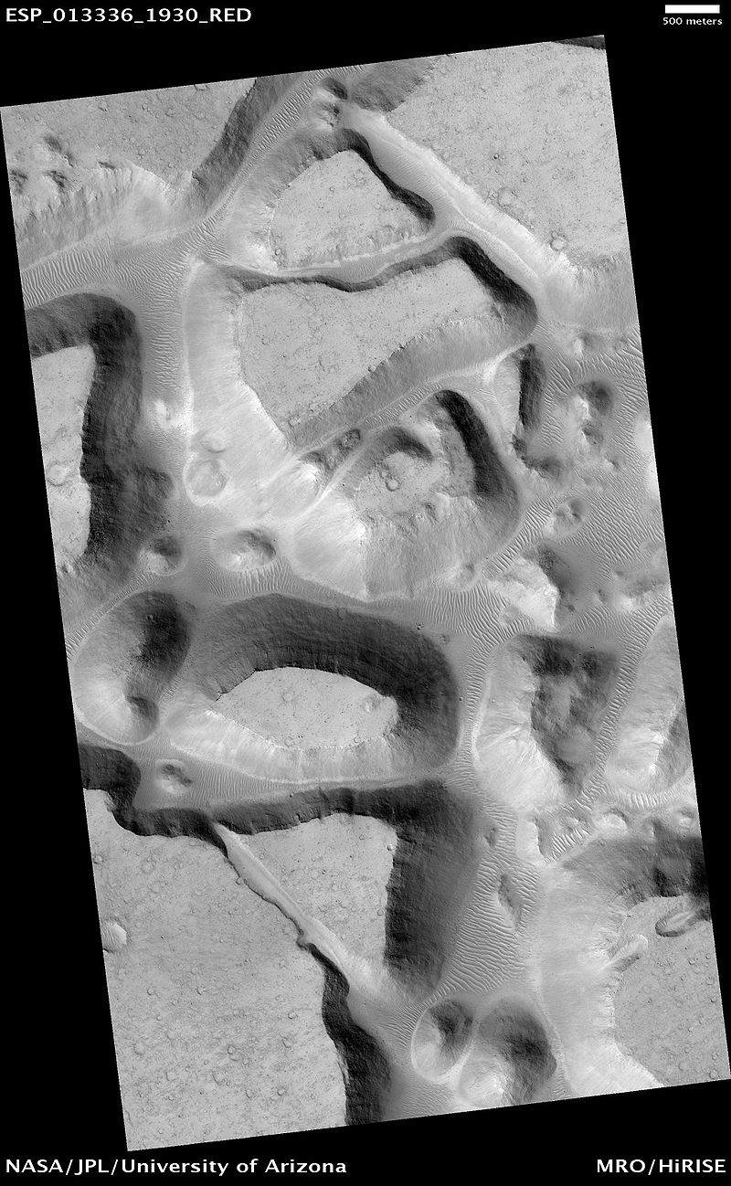Chaos terrain, called Ister Chaos, on Mars! Image credit: NASA/JPL/UA