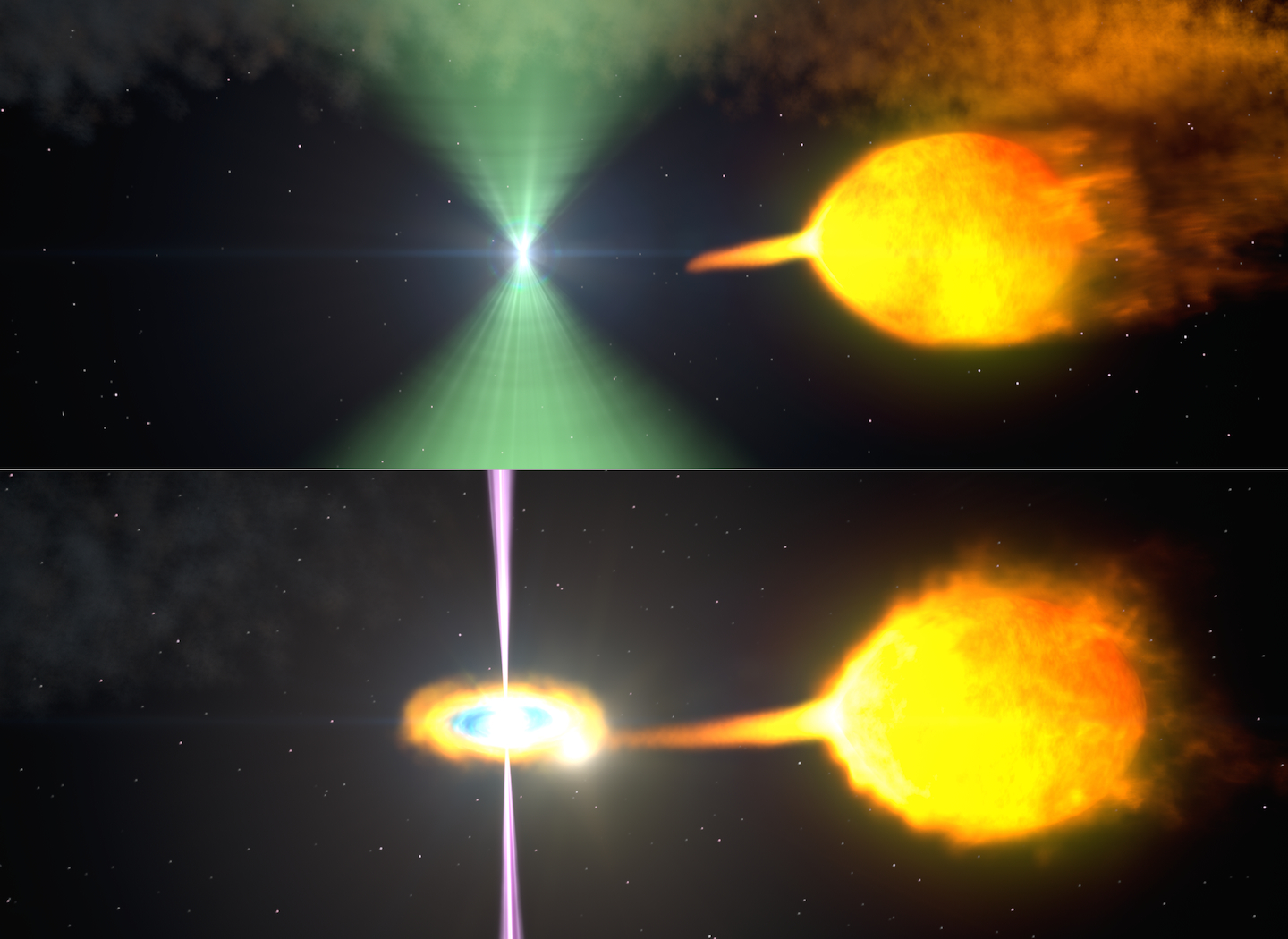 Depiction of a companion star getting torn apart into the Black Widow pulsar's spinning web of destruction! Image credit: NASA Goddard Space Flight Center