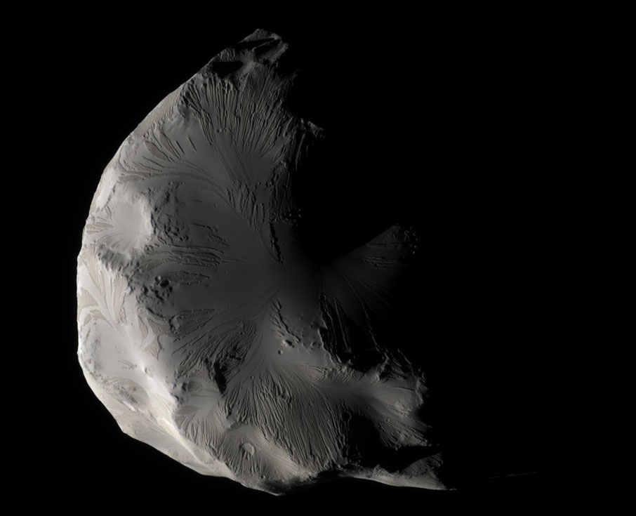 Helene as seen by Cassini. Note the complexity of the surface flows! What could have caused these?! Image credit: NASA Cassini
