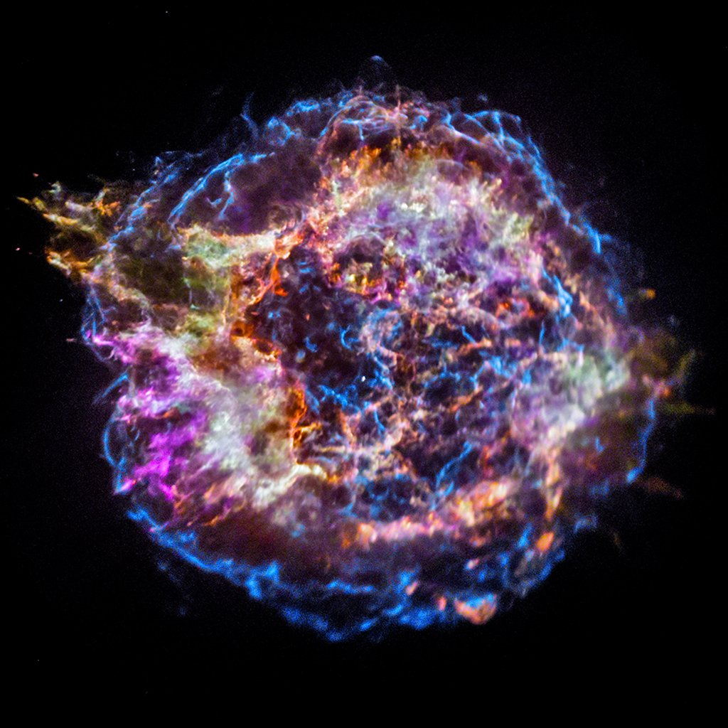 Cassiopeia A supernova remnant as imaged by Chandra! Each color corresponds to a particular element! Image credit:NASA/CXC/JHUAPL