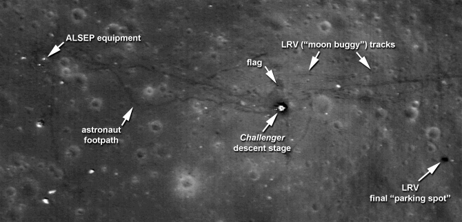 Marked map of Taurus-Littrow Valley Apollo 17 landing site. Image credit: NASA