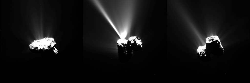 Evolution of vapor tails of 67P through the Rosetta mission. Image credit:ESA/Rosetta/MPS for OSIRIS Team MPS/UPD/LAM/IAA/SSO/INTA/UPM/DASP/IDA