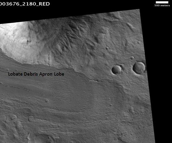 Lobate debris apron in Phlegra Montes, as seen by HiRISE. Scale bar is 500 meters long.