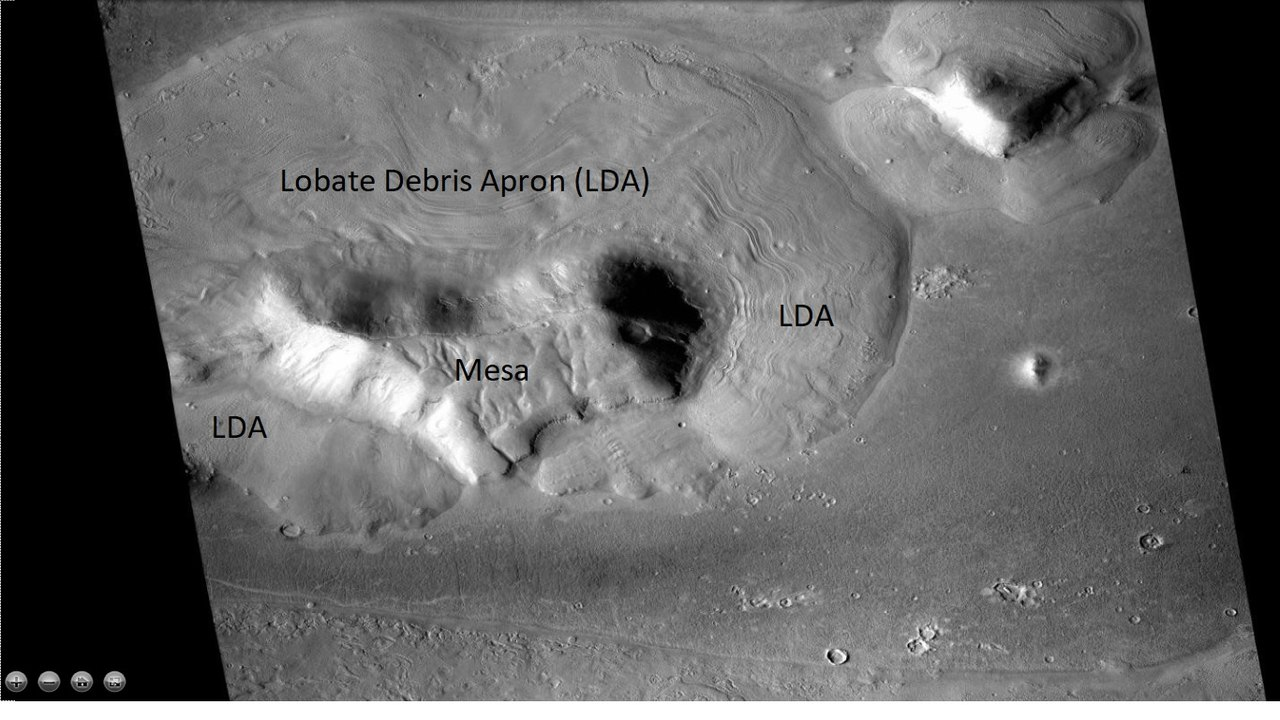 Wide view of mesa with surrounding lobate debris apron, as seen by CTX and HiRISE. Location is the Ismenius Lacus quadrangle.