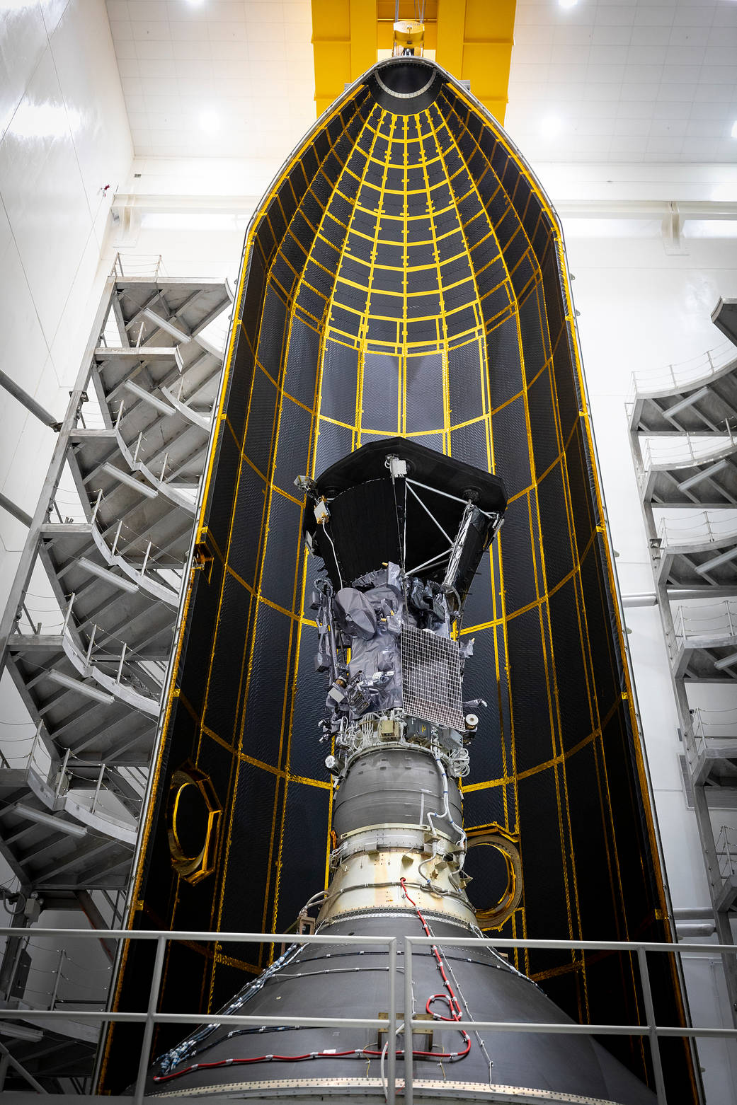 Interior of Parker Solar Probe inside the shield after final clean room testing.  Image credit: NASA