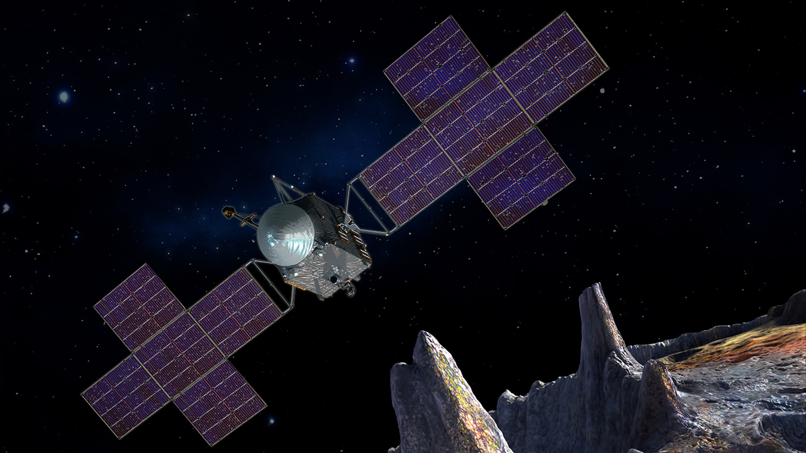 NASA-JPL mock-up of the design for Psyche orbiter. Image credit: NASA/JPL