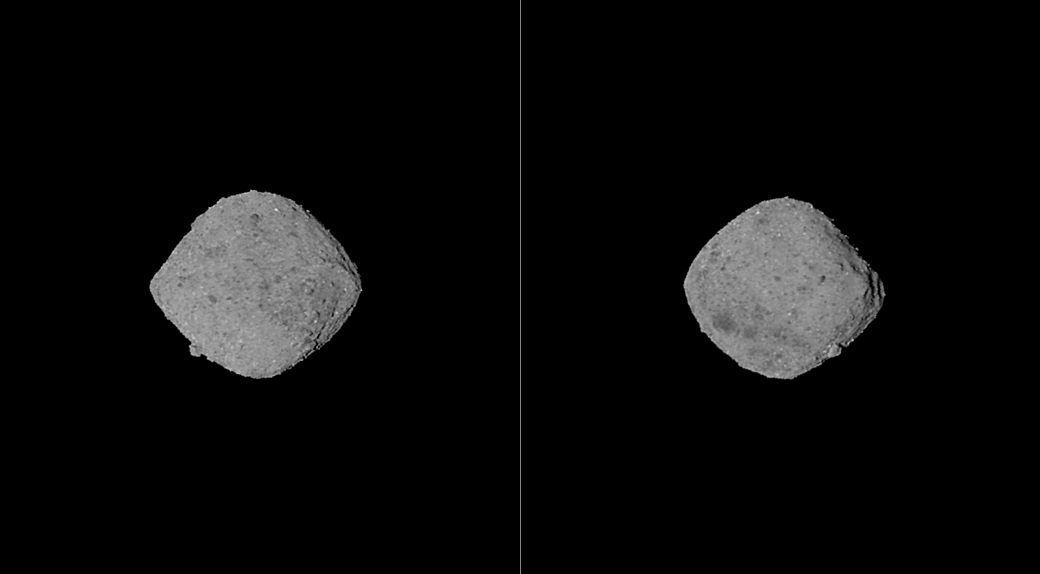 Two sides of Bennu as imaged by the OSIRIS-REx approaching closer by the hour! Image credit: NASA/Goddard/University of Arizona