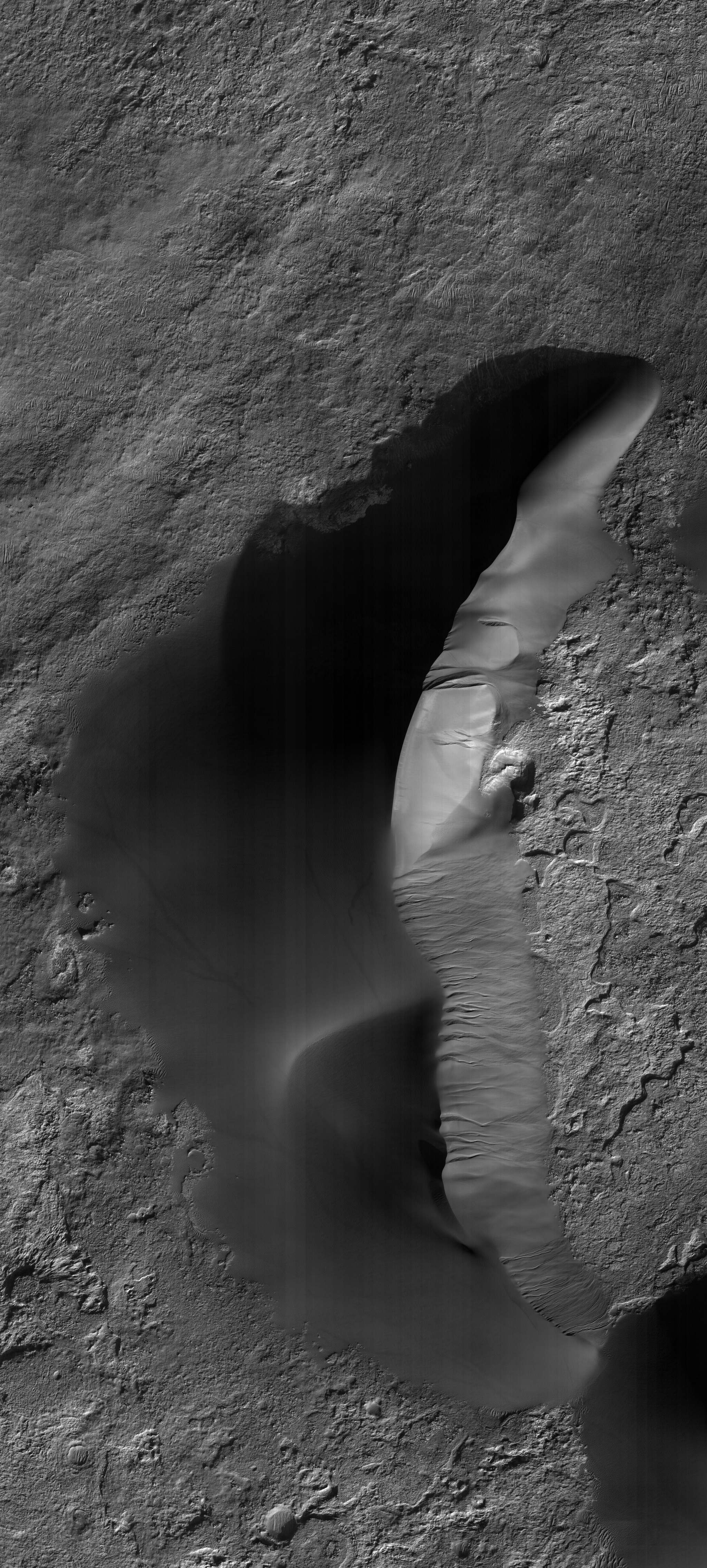 HiRISE image of the main Kaiser barchan dune. Can you spot the dust devil tracks on the left of the dune? HiRISE ESP-025689-1330