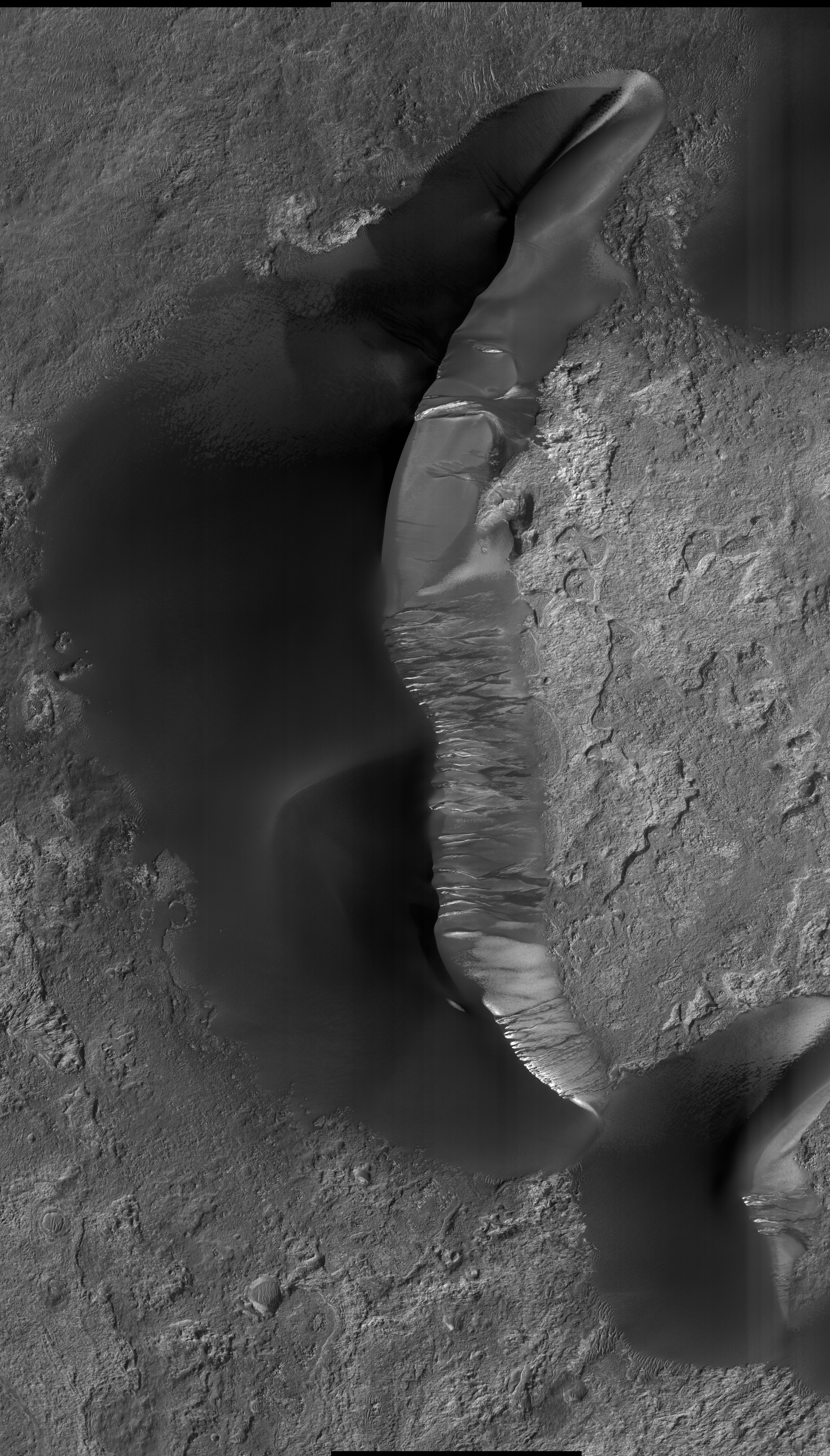 Kaiser dune thawing from seasonal frost! Look how dramatic the dune gullies have become compared to the previous image! HiRISE PSP-001862-1330
