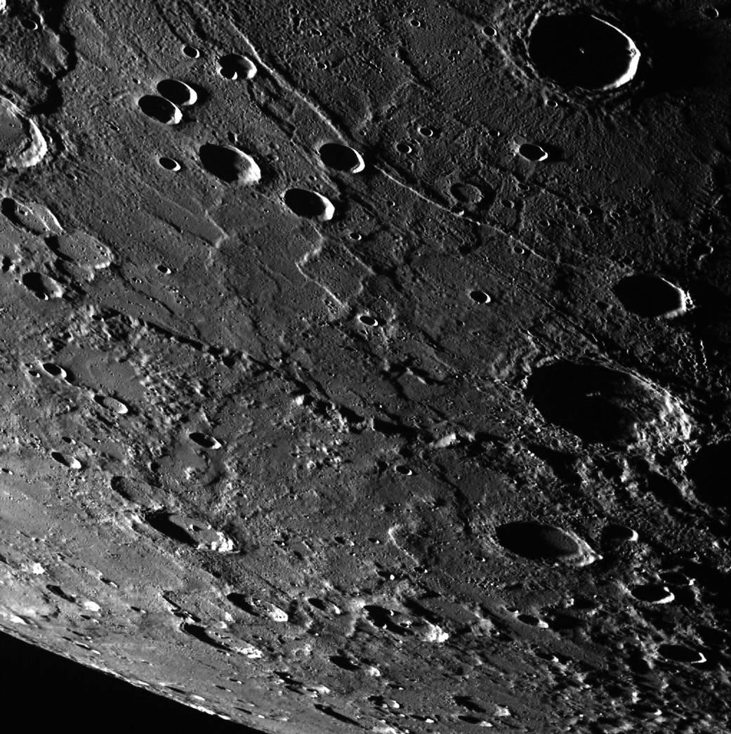 Rim of Rembrandt crater. Image credit: NASA/Johns Hopkins University Applied Physics Laboratory/Smithsonian Institution/Carnegie Institution of Washington