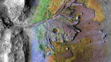 Jezero Crater on Mars with its prominent and gorgeous delta fan! Credit: NASA/JPL-Caltech/MSSS/JHU-APL