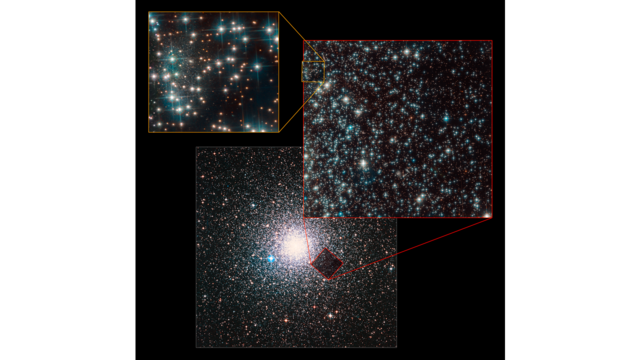 Bedin 1 Dwarf Galaxy located behind a bright globular cluster! News release ID:  STScI-2019-09  Image credit:  NASA ,  ESA , L. Bedin (Astronomical Observatory of Padua, Italy), and Digitized Sky Survey 2