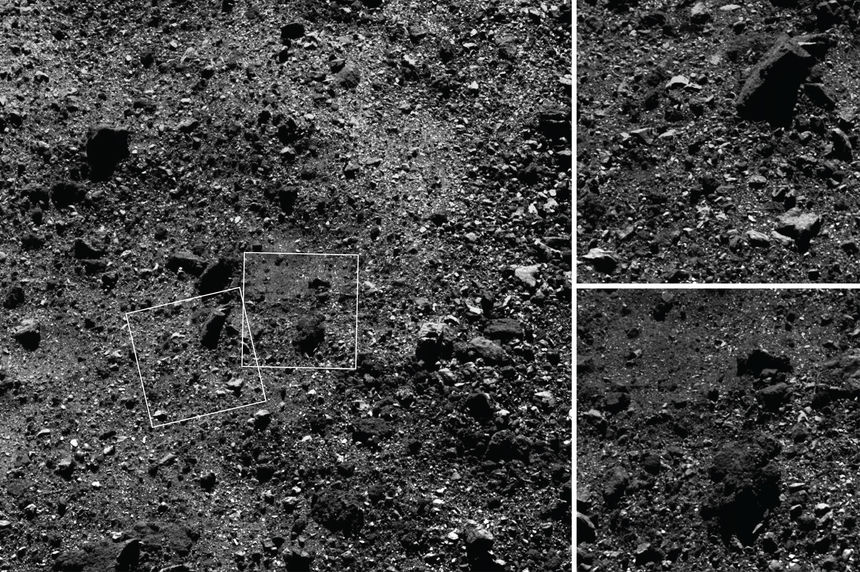 Close-up images of the rocky surface of Bennu. The image on the left is 180 meters across, and the insets are just over 30 meters. The biggest boulders are about the size of a house. Credit: NASA/Goddard/Univ. of Arizona