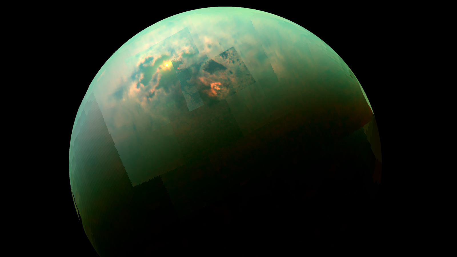 Titan as a mosaic from the Cassini spacecraft. Image credit: JPL/NASA/Univ. of Arizona