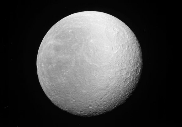 Saturn's moon Rhea, pictured by the Cassini probe in 2012. Credit: NASA/JPL