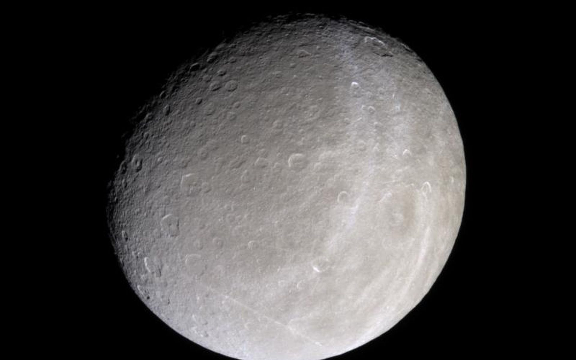 Rhea with brightened wispy terrains! Image credit: NASA/JPL/Space Science Institute
