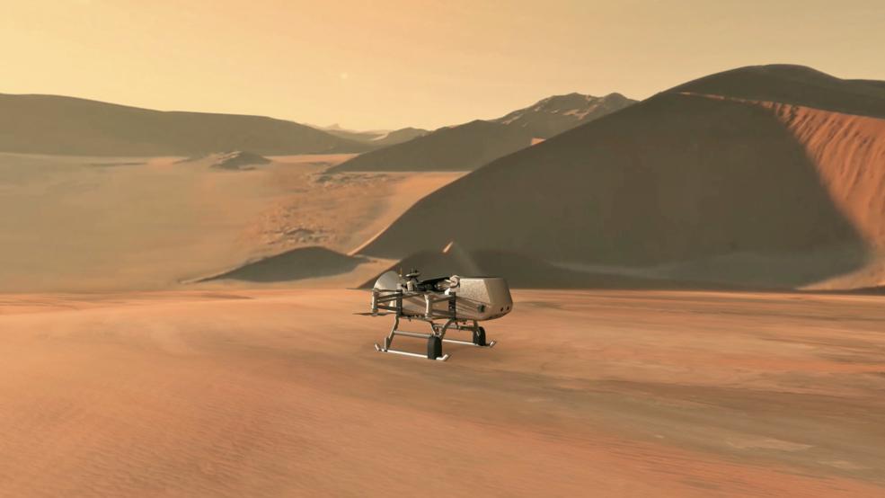 This illustration shows NASA's Dragonfly rotorcraft-lander approaching a site on Saturn's exotic moon, Titan. Image credit: NASA/JHU-APL