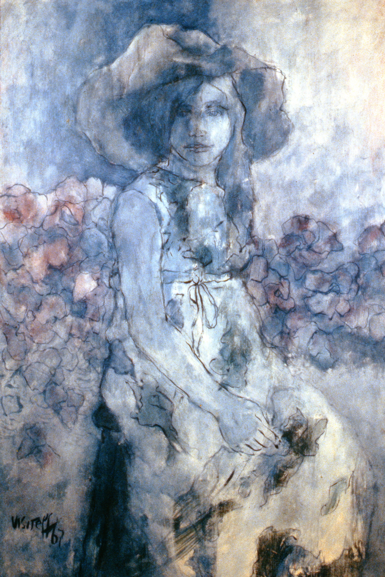 Blue Girl , 1967, Gail Visiteff,acrylic painting, 80 cm x 118 cm, 1967.02.01, gift of anonymous Art Club member
