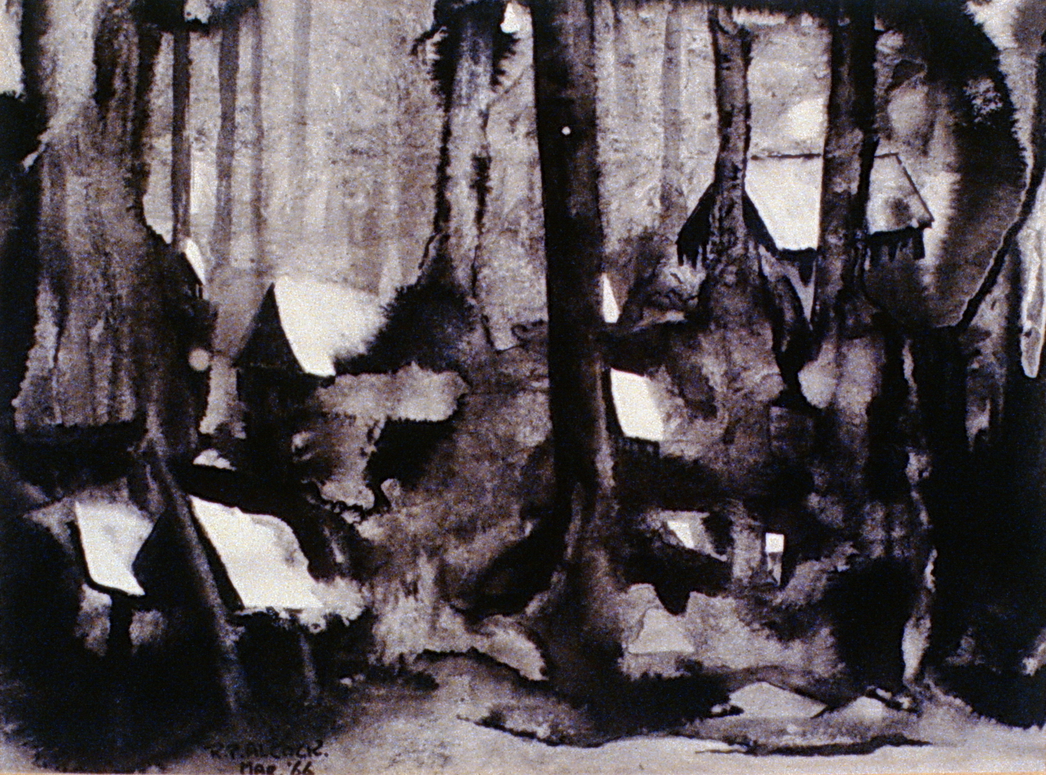 Lumber Camp , 1966, Mac Alcock, ink wash, 23x16.5 cm, 1972.01.01, gift of the family of Mac Alcock
