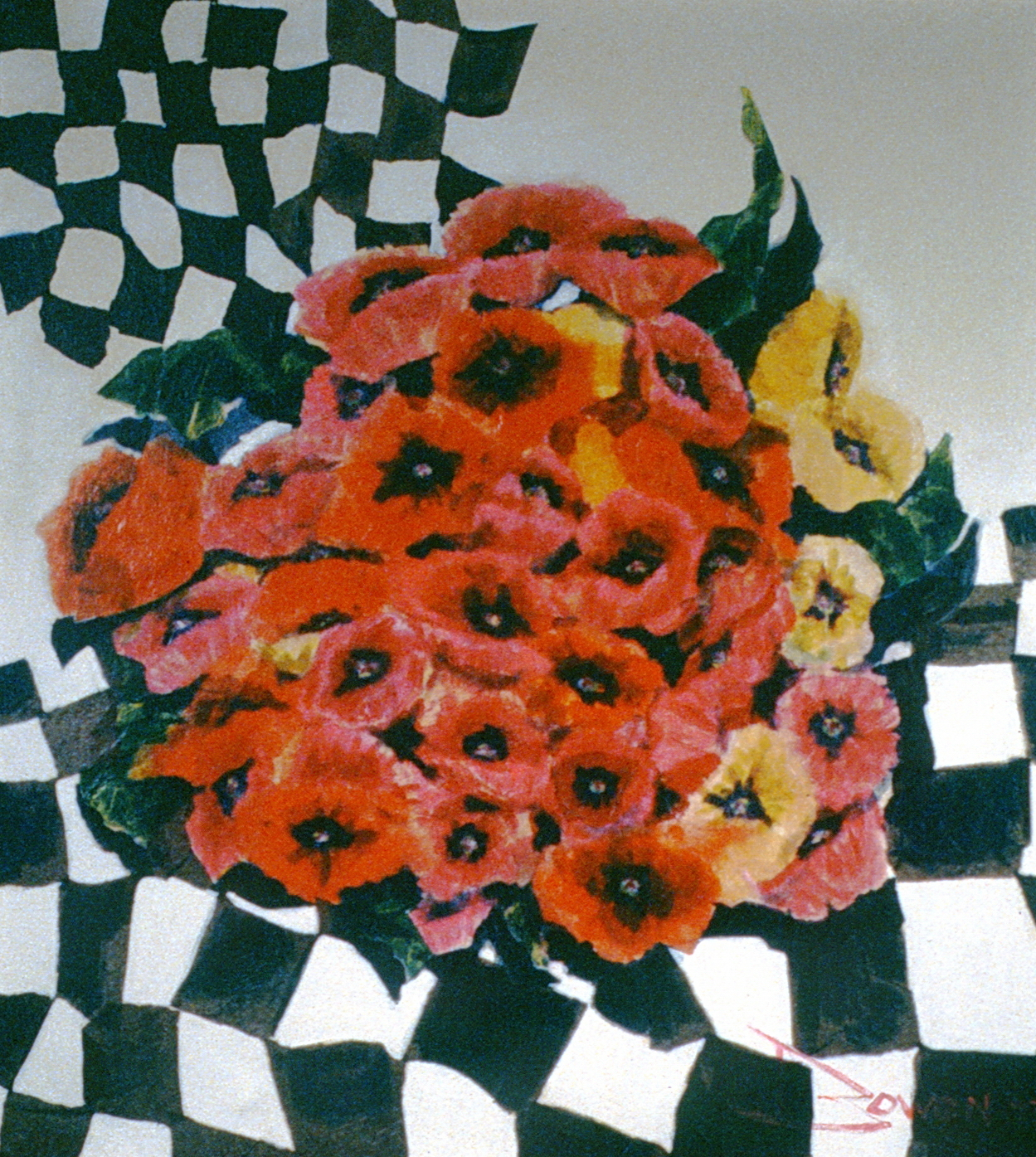 Poppies and Checks , 1973, Audrey Owen, acrylic collage, 86.5 cm x 96 cm, 1973.01.01, gift of an anonymous Art Club member