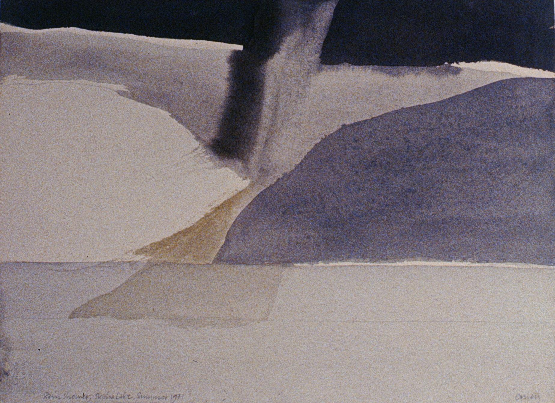 Rains Shower, Skaha Lake , 1971, Toni Onley, watercolour on paper, 38 cm x 28 cm, 1978.02.01, gift of the artist