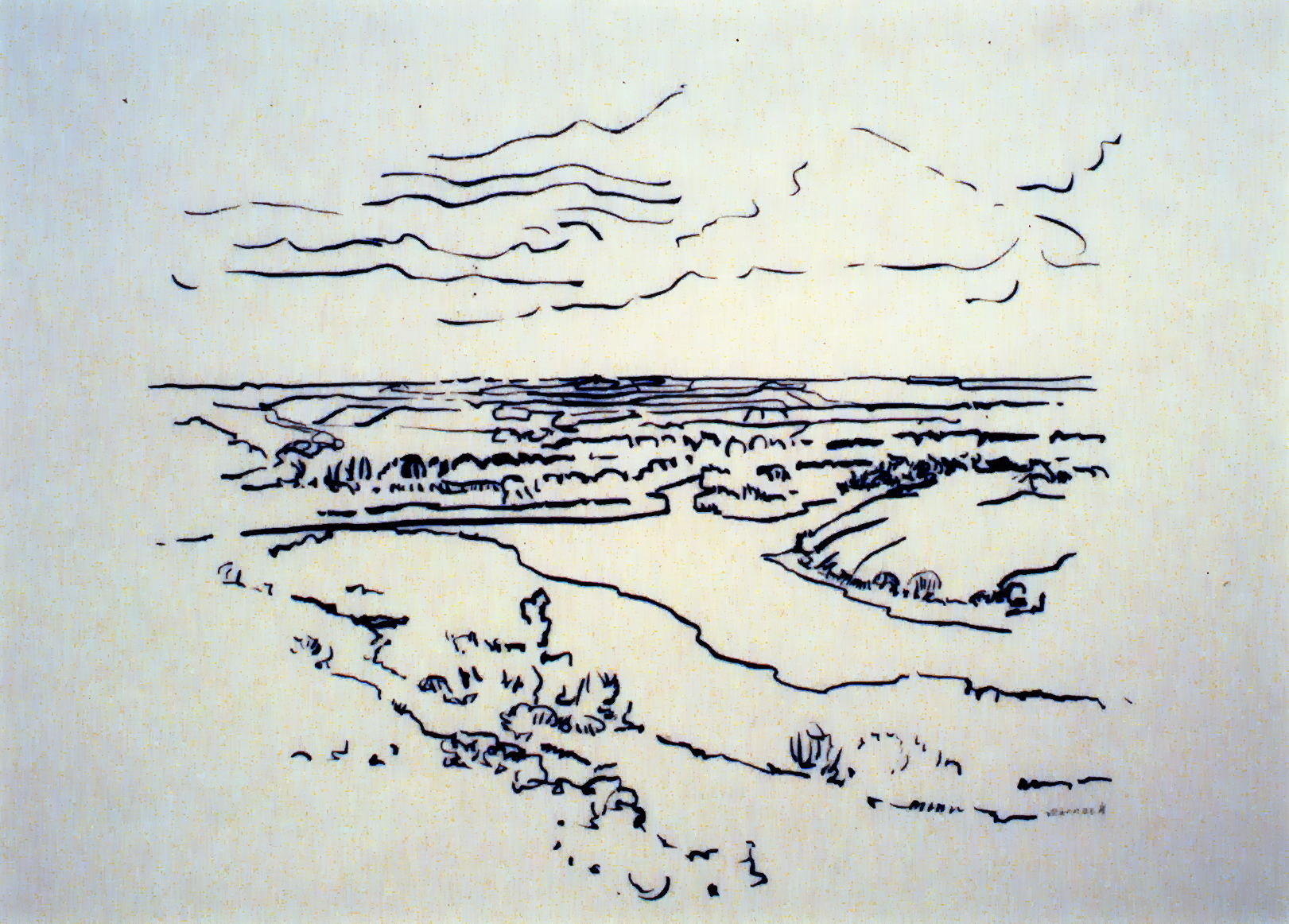 Saskatchewan Valley, n.d., Betty Warnock, pen and ink on paper, 21.5 x 26.5 cm, 1980.02.04. Purchase made possible through the support of Casabello Wines Ltd. and the Canada Council Special Purchase Assistance program.