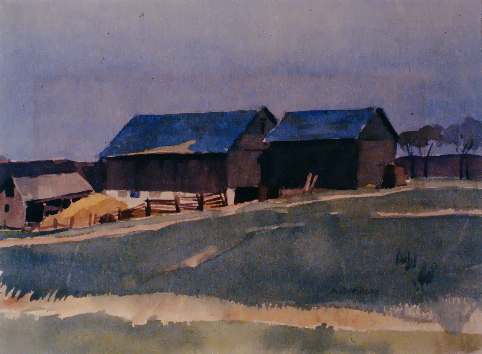 Ontario Barns , n.d., Arthur Gresham, watercolour on paper, 23.1 x 20cm, 1980.03.02. Gift of Mr. and Mrs. Evan Mitchell.