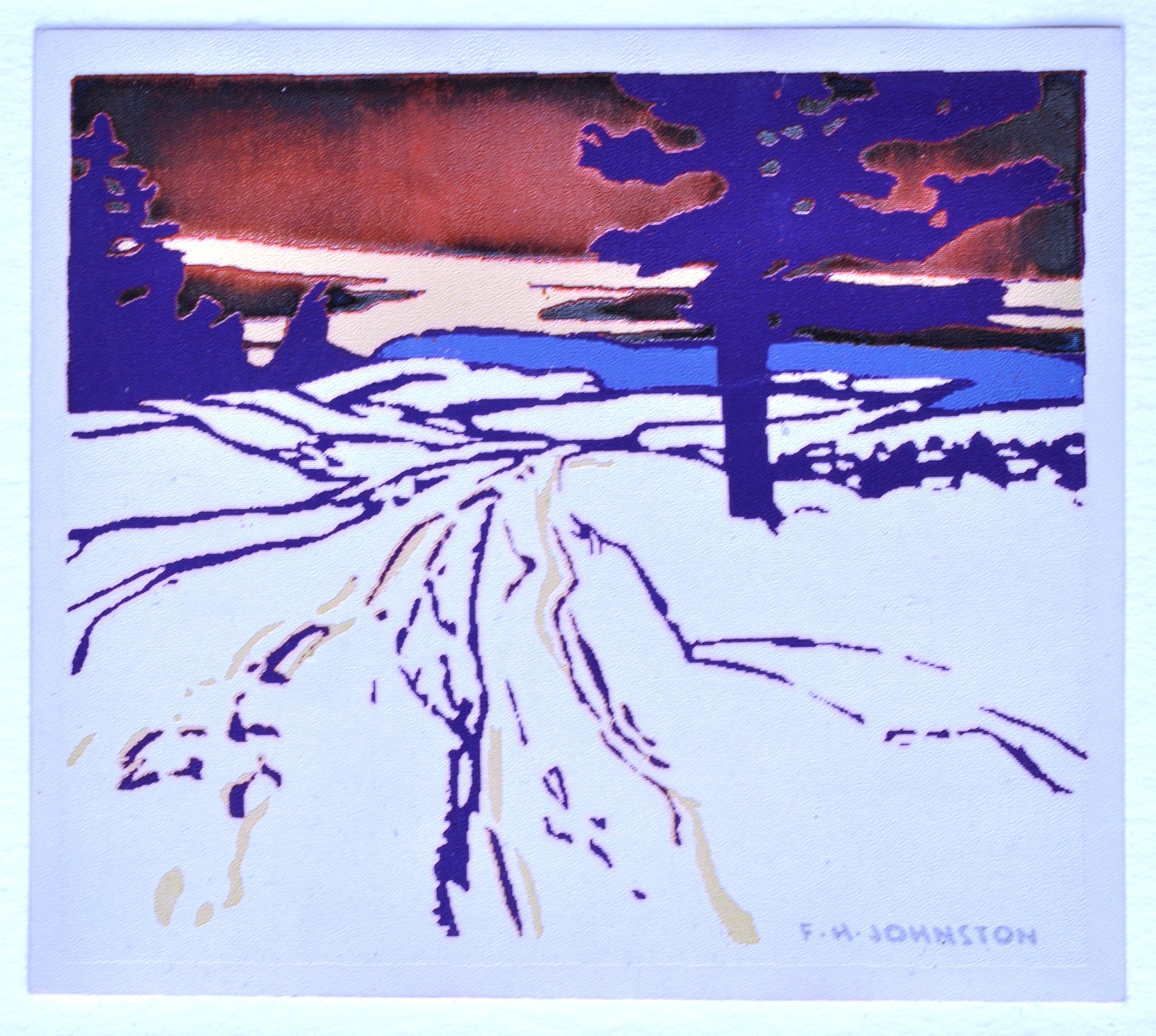 """Sunset Glory , n.d.,Franz Johnston, serigraph, 3 2/8""""x 3 3/4"""", 1984.01.02.Part of the Sampson-Matthews Serigraph Miniatures Collection."""