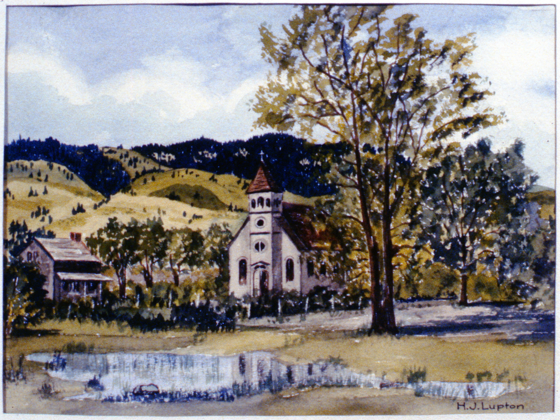 Untitled (Penticton Indian Band Reserve) , H.J. Lupton, watercolour on paper, 1985.02.01. Gift of the artist.