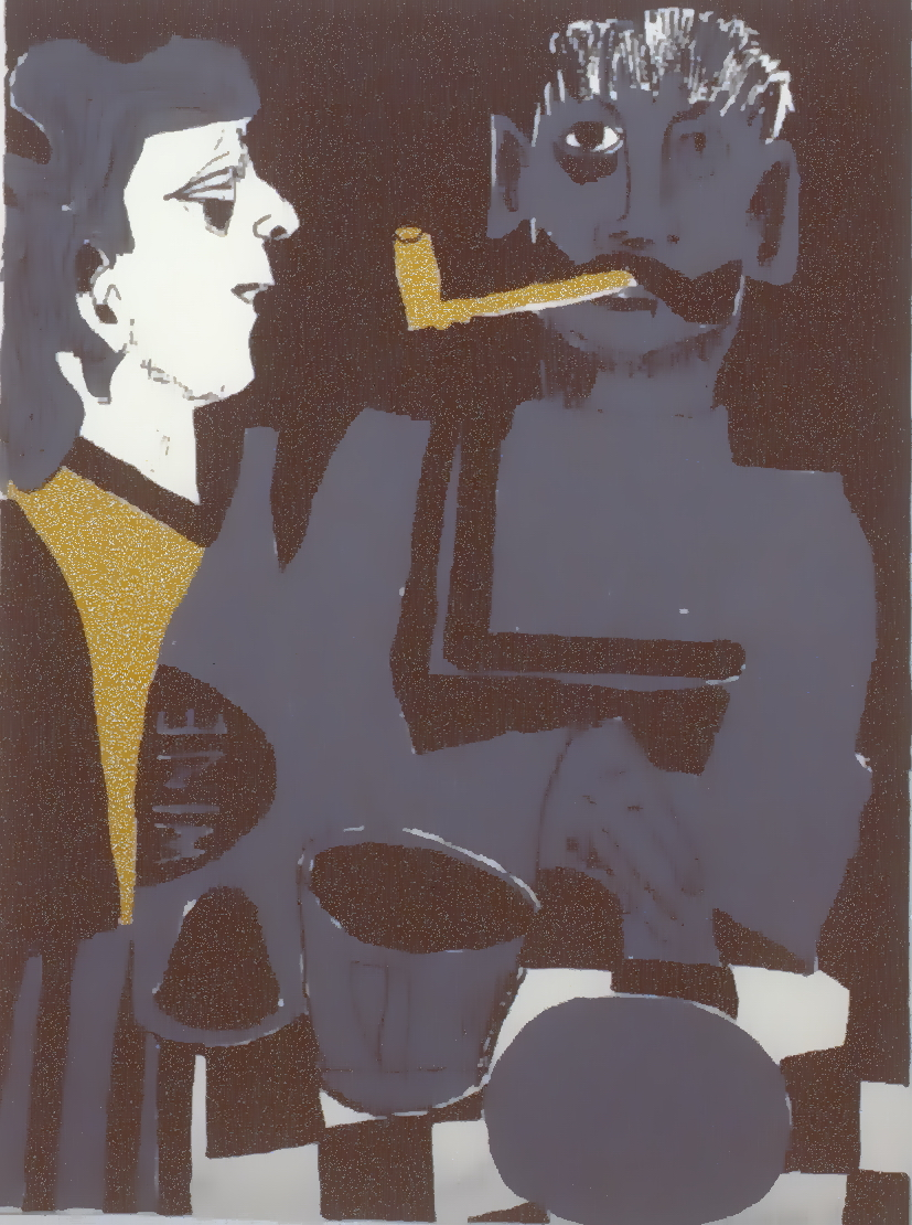 "Figures at a Table , 1967, Maxwell Bates, serigraph, edition 36/50, 15"" x 20"", 1985.03.07. Simon Fraser Centennial Suite Donation. Gift of Jessie Binning."
