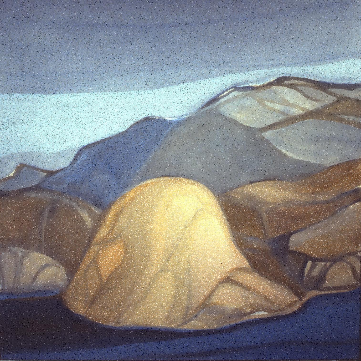 Rock Hills  or  Okanagan Hill , c. 1980, Betty Warnock, acrylic on canvas, 1986.01.01. Gift of Mrs. Gisele Critchley.