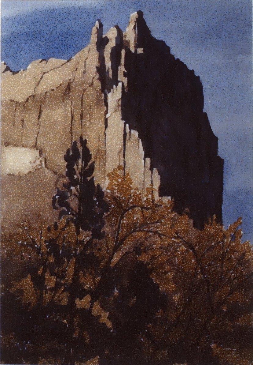 Sharp Clay Cliff , 1985, George Angliss, watercolour on paper, 49.7 x 34.2 cm, 1986.02.01. Gift of the artist.