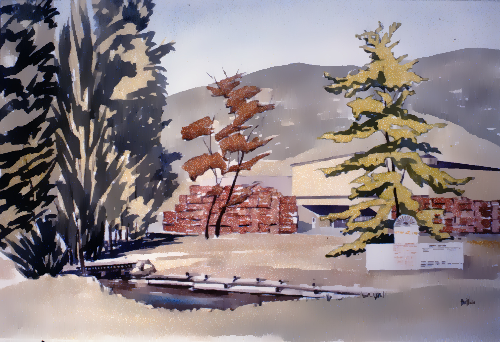 """Art Gallery Site with Packing House , c. 1985, Herb Brittain, watercolour on paper, 13"""" x 21"""", 1986.05.01. Gift of the artist."""