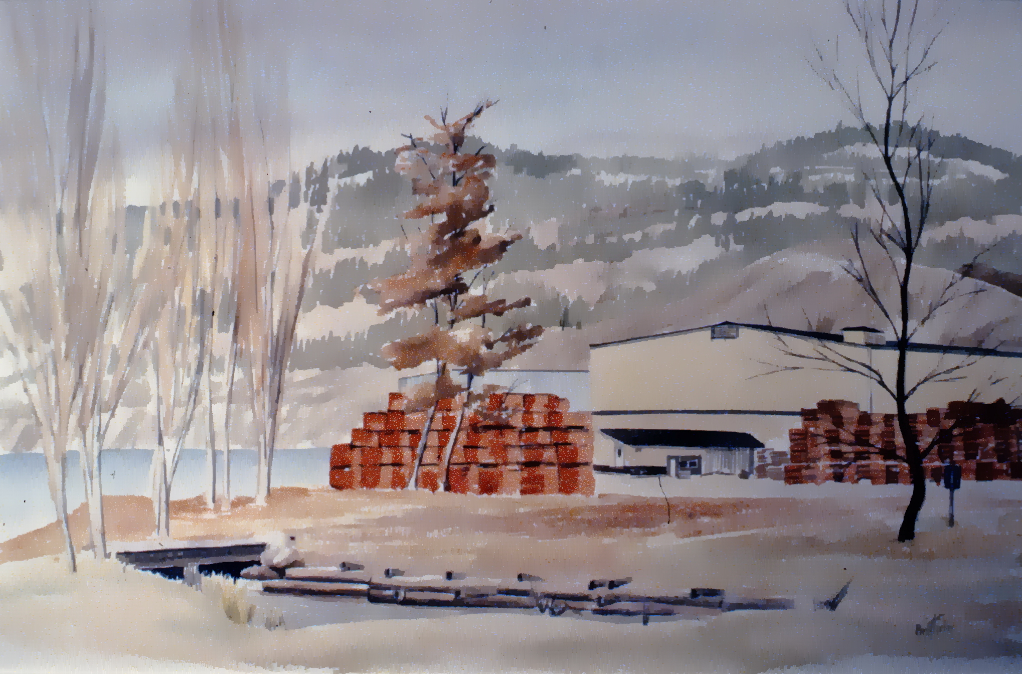 """Art Gallery Site in Winter , c. 1985, Herb Brittain, watercolour on paper 14"""" x 22"""", 1986.05.02. Gift of the artist."""