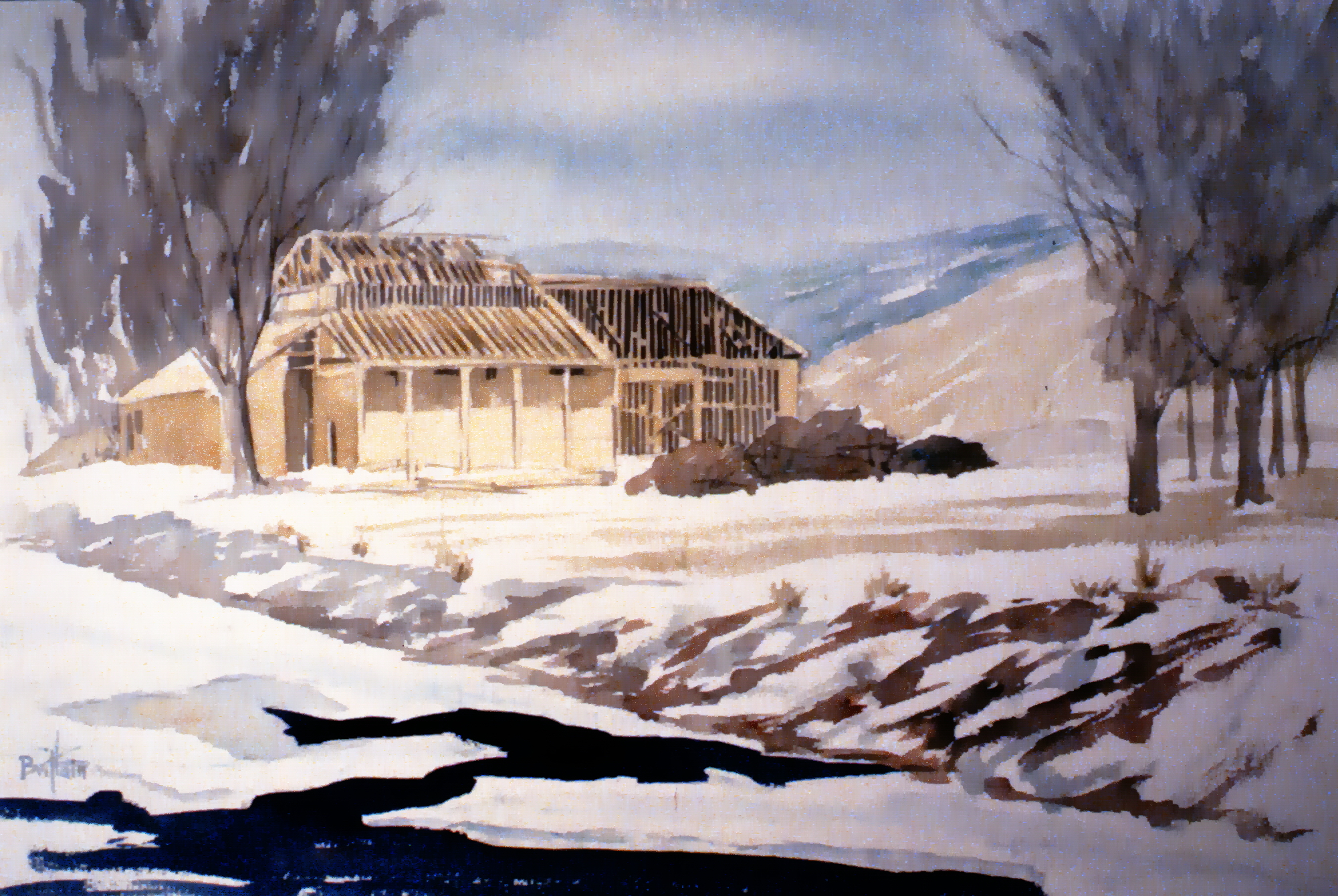 """Art Gallery Building, 1985 , Herb Brittain, watercolour on paper, 14"""" x 22"""", 1986.05.03. Gift of the artist."""