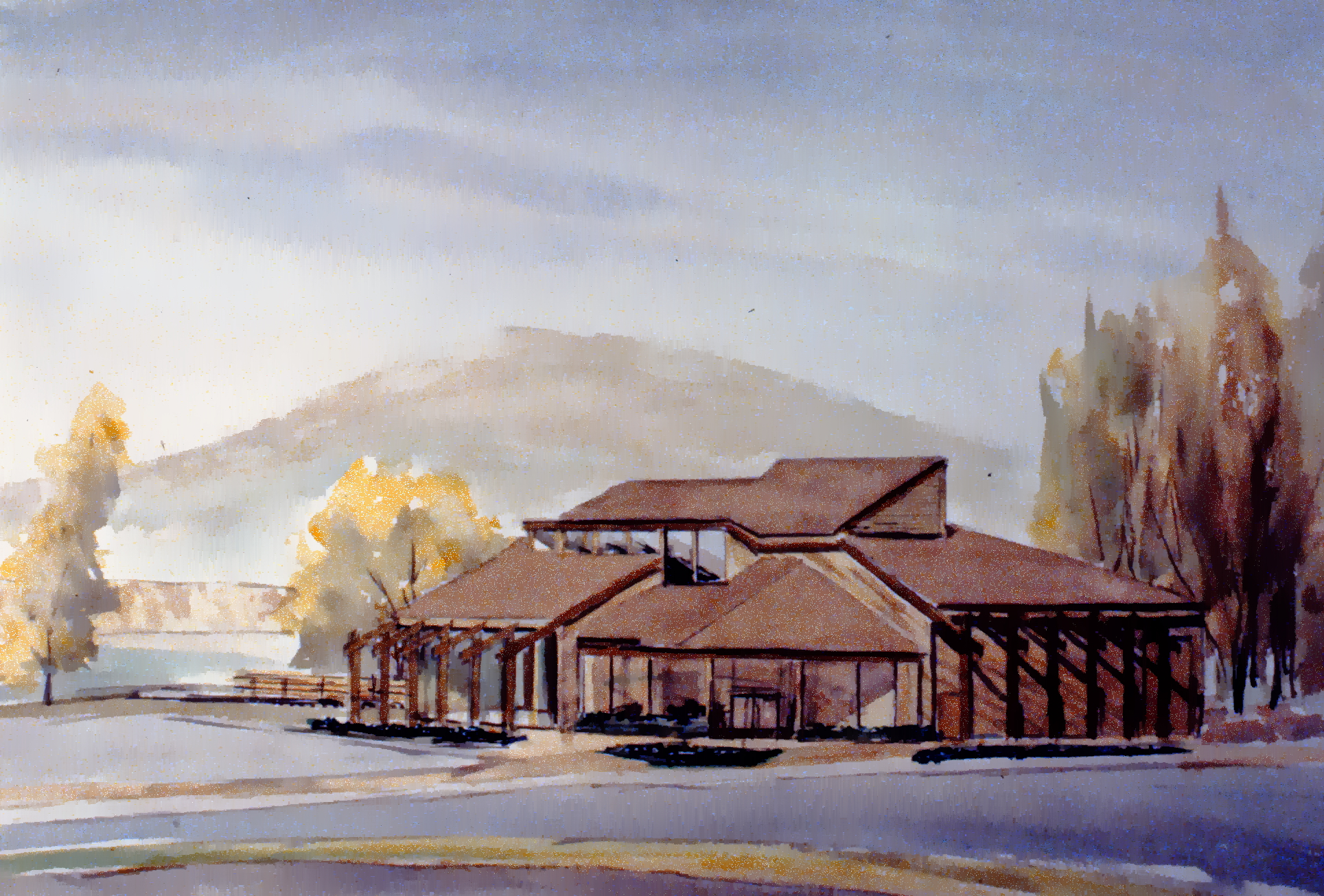 """Art Gallery Building, 1986 , Herb Brittain, watercolour on paper, 14"""" x 22"""", 1986.05.04. Gift of the artist."""